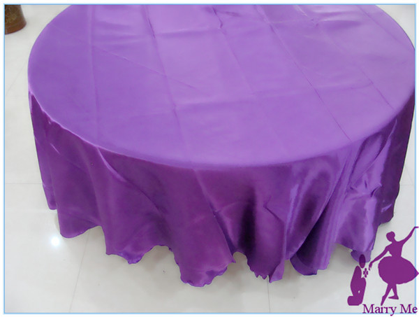 Good 15pcs 108u0027u0027 Round Satin Tablecloth Purple For Wedding Event Banquet  Party(China (