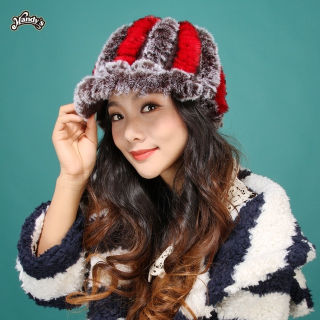2015 New real  lady Women  tshow  model new style warm fashion lovely color fur rex rabbit hair dome cap hat short brim headgear