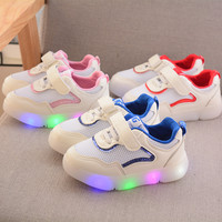 2019 Autumn New LED Lighting Children's Shoes Boys Sports Soft Bottom Toddler Shoes Cool Mesh Baby Girls Glowing Sneakers