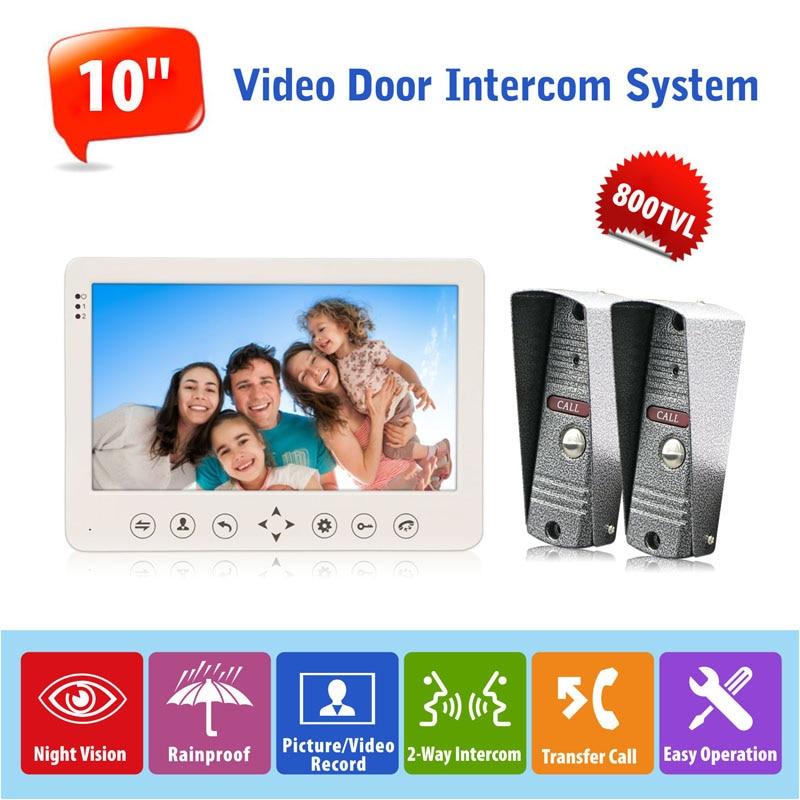10 inch Video Doorbell Monitor Intercom System Support Russian/French/Spanish/Arabic Language Outdoor IP65 Waterproof Camera