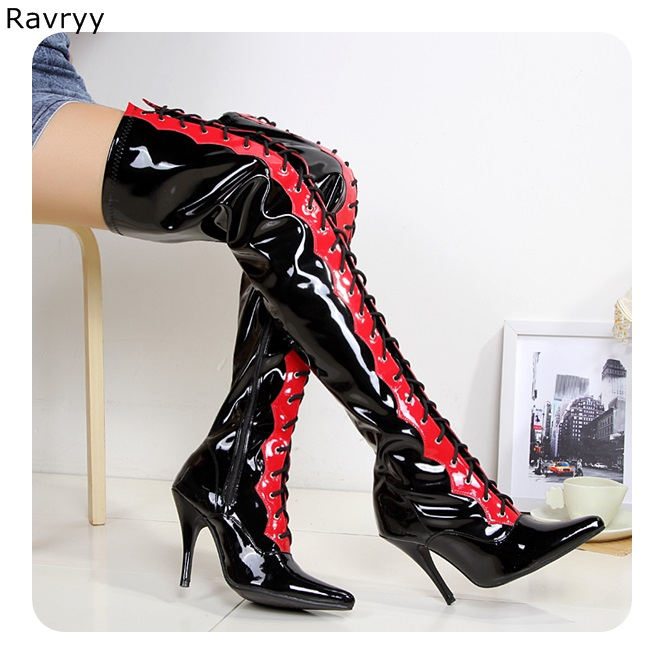 Tsmile Women Western Cowboy Boots Retro Large Size Knee High Pointed Toe Pu Tow Tube Tall Military Booties Shoes