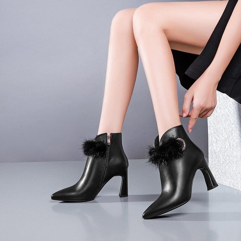 Zvq 2018 En Black Femmes Hiver Véritable Fourrure Super Décoration Pointu Cuir Bottines Bout Zip Carré Mode Talon Chaussures Haute Nouvelle Chaud BrxdqwAB
