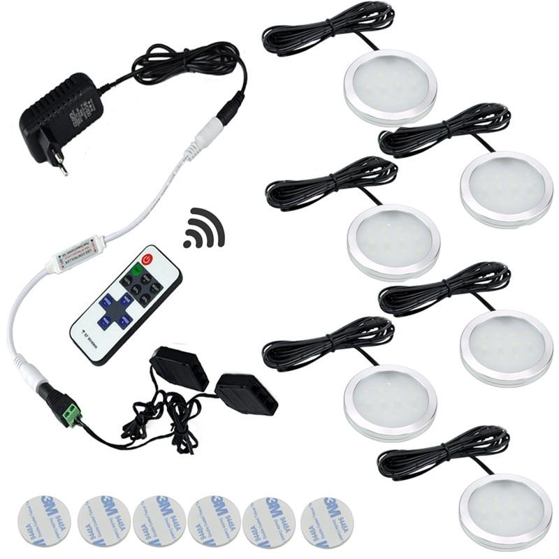 AIBOO 12V Under Cabinet Light LED Puck Lights Wireless Downlight Spotlights LED Kitchen Lighting