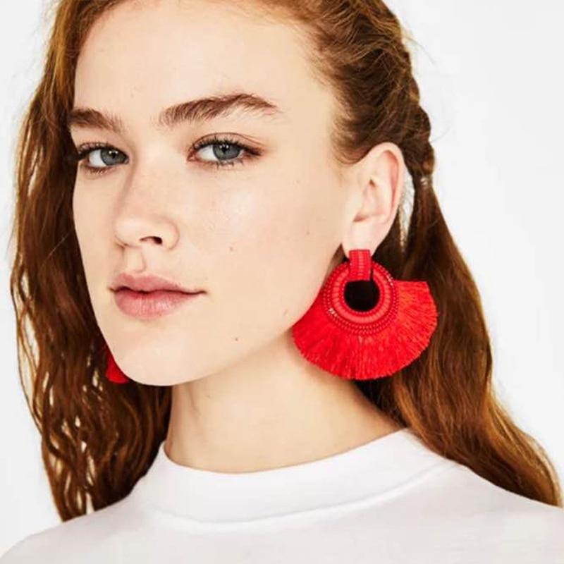09d063ae94b45 Beagloer Fashion Women Tassel Earrings Brincos Boho Statement Fringe  Earings Circle Vintage Dangle Round Earring Jewelry