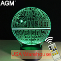 Free ship star wars candeeiro de mesa de toque 7 cores mudando lâmpada de mesa lâmpada 3d novelty led night lights estrela da morte do diodo emissor de luz do navio da gota