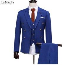 LA Maxpa (jacket+pants+vest) New fashion men suit male suit for wedding spring autumn casual slim fit prom groom party suit