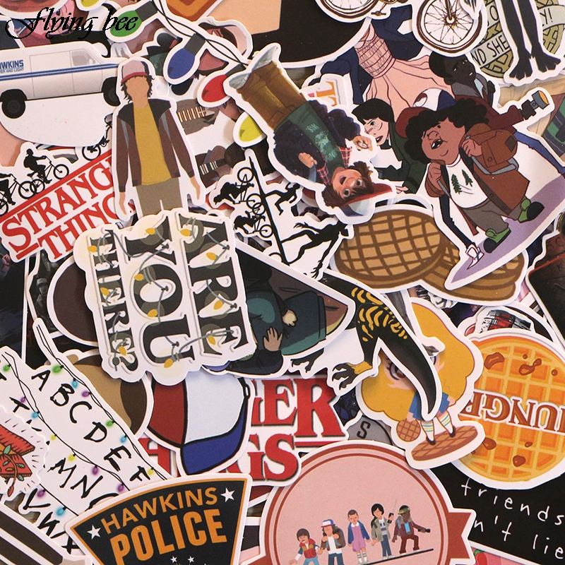 Image 5 - Flyingbee 66 pcs Stranger Things Sticker Anime Stickers for DIY Luggage Laptop Skateboard Car Motorcycle Bicycle Stickers X0005-in Stickers from Consumer Electronics