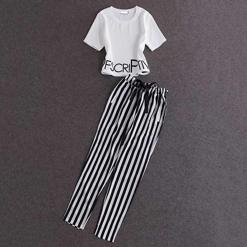2 sztuka zestaw kobiety biały drukowanie topy + spodnie w paski garnitury ubrania letnie dla kobiet przyczynowe wokół szyi koszula i szczupła elastyczna do spodni