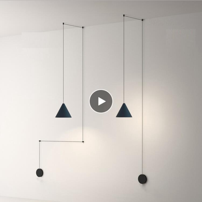 LukLoy Modern Light Black Metal Long Wire Cone Shape Pendant Lamp Kitchen Island Hanging Lamp Bedside Suspension Lighting