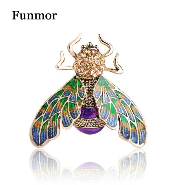placeholder New Arrival Vintage Bee Brooch Corsage Antique Gold Color  Colorful Enamel Mosquitoes Broach Gifts Insect Brooches