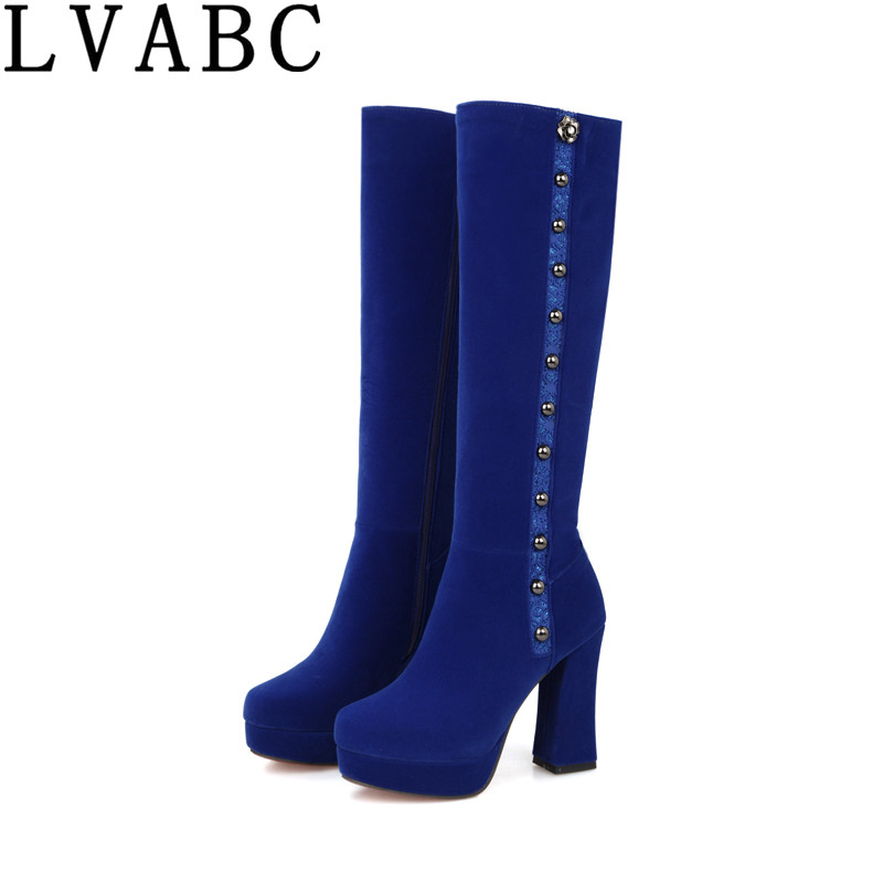 2018 Plus size 34 43 women Boots Women Shoes Woman Fashion High Heels Winter Party Boots