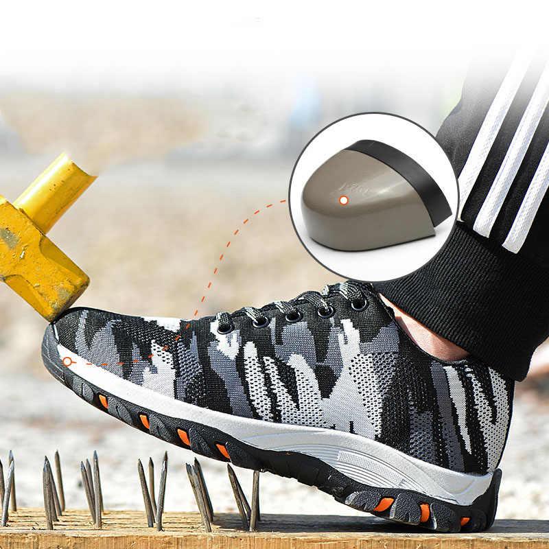 VESONAL работы защитная обувь для мужчин Boos Строительство сталь носок кепки анти-разбив открытый сетки Спортивная обувь повседневное прогул