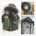 KIKIKIDS INS 2016 winter  KIDS DOWN COAT ARMY green velvet fur collar wadded TOPS  KIDS CLOTHING VESTIDOS VETEMENT CHRISTMAS