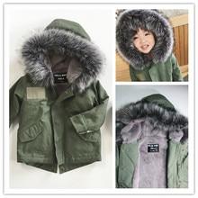 KIKIKIDS INS 2016 winter  KIDS DOWN COAT ARMY green velvet fur collar wadded TOPS  KIDS CLOTHING VESTIDOS VETEMENT CHRISTMAS