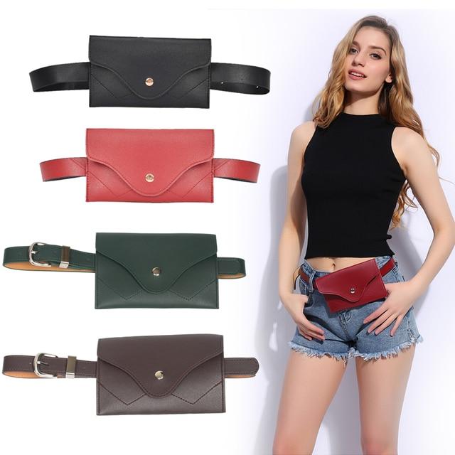 2018 Women Waist Bag PU Belt Bag Hengreda Fanny Pack Ladies Female Purse for Travel Party Fit 5.5
