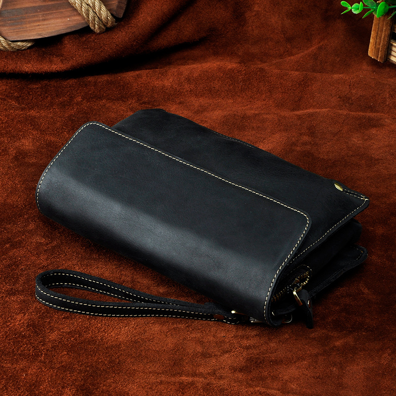 LAPOE Luxury Brand Men Wallets Purse Money Bag Leather Men Clutch Wallet Male Wrist Strap Baellerry Wallet carteira masculina
