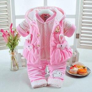 Image 3 - 新しい秋 & 冬の女の赤ちゃんセットウサギスタイル綿追加が詰め暖かい 0 2 T 新生児幼児ベビー 3 ピース/セットウォーキングドレス