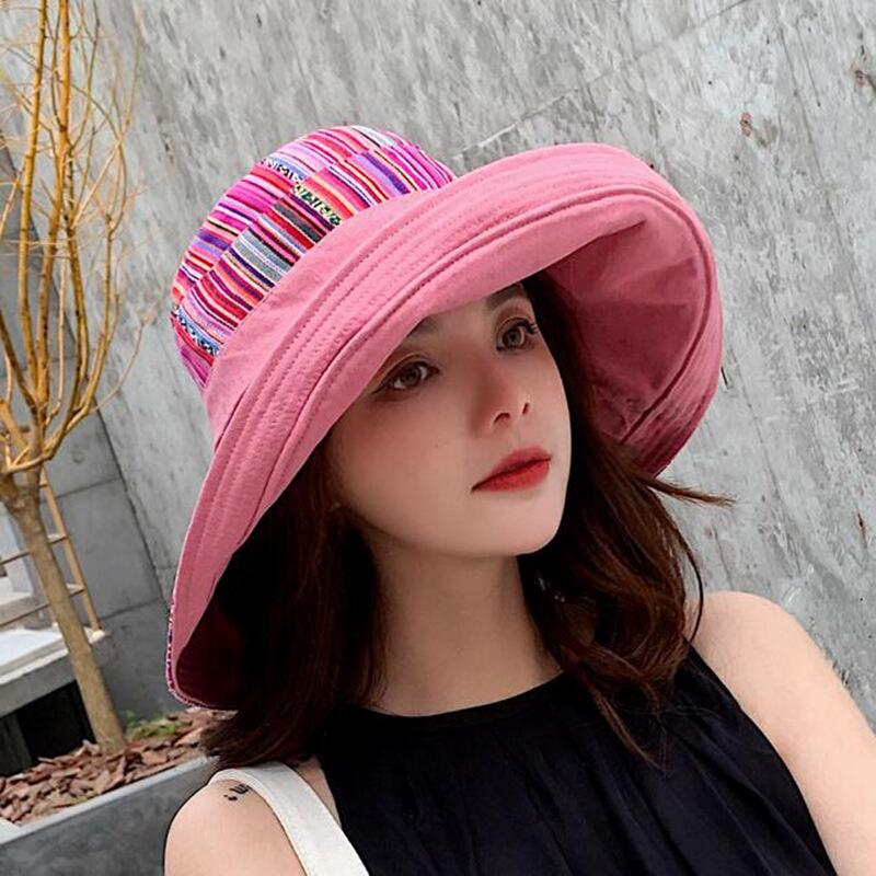 HTB12txLJwHqK1RjSZFgq6y7JXXaO - Double sided irregular Pattern Bucket Hat Women Summer Cotton Breathable Leisure Bob Caps Outdoor Sports Casual Dome Panama Cap