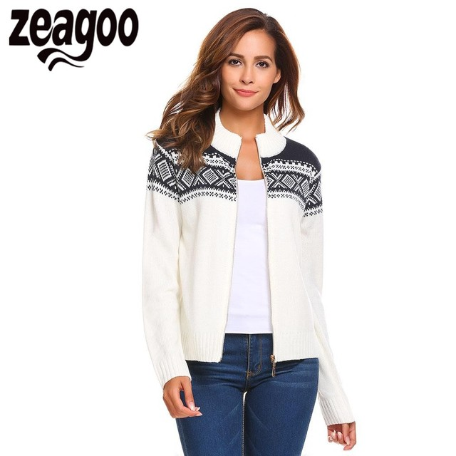 Zeagoo Cardigan Women Stand Collar Long Sleeve Full Zip Print Knitted  Casual Sweater Cardigan pull femme hiver pull femme 1cc7bfc95