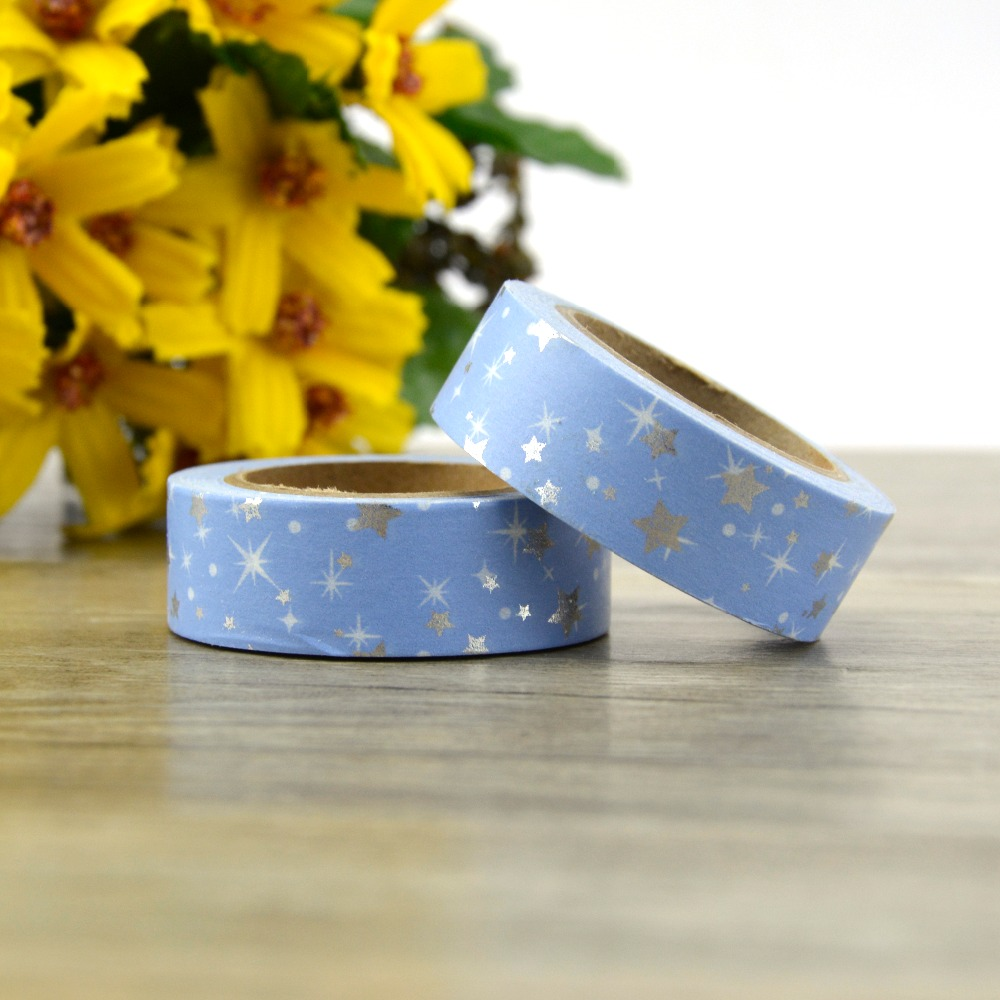 15mm*10m Sparkling Christmas Star Foil Washi Tape Japanese Stationery Kawaii Adhesive Masking Tape School Tools Halloween