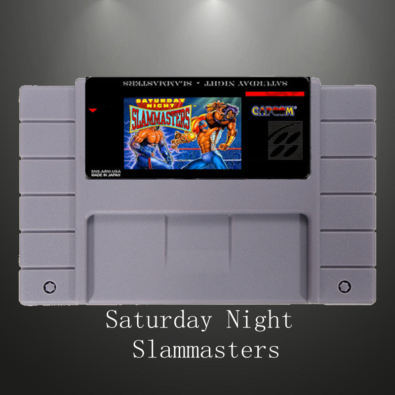 Saturday Night Slammasters 16 Bit Gray Game Card Saved For USA NTSC Game Player