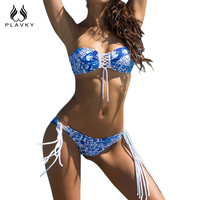 PLAVKY 2017 Sexy Blue Floral Lace Up Bandeau Biquini Strappy Bandage Swim Bathing Suit Fringe Swimsuit