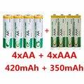 4 unids aa 420 mah 1.2 v + 4 unids aaa 350 mah 1.2 v ni-mh batería recargable conjunto de células, juguete de La Batería Recargable