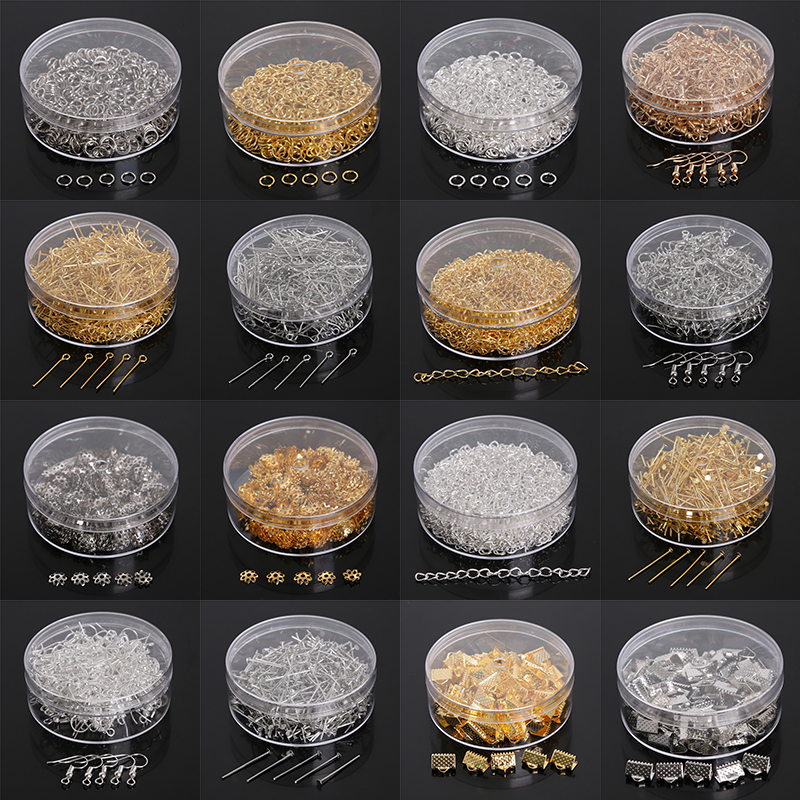 100-500pcs/set Jump Ring/Beads Caps/Extended Chains/Pins/Claps/Earring Hooks Box PackagingJewelry Findings For Fashion Jewelry