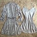 Cinza Novo Estilo de Cetim Vestes Vestido Sexy Pijamas das Mulheres Com Cinto roupões Pijamas de Manga Longa Marca New Camisola M L XL XXL