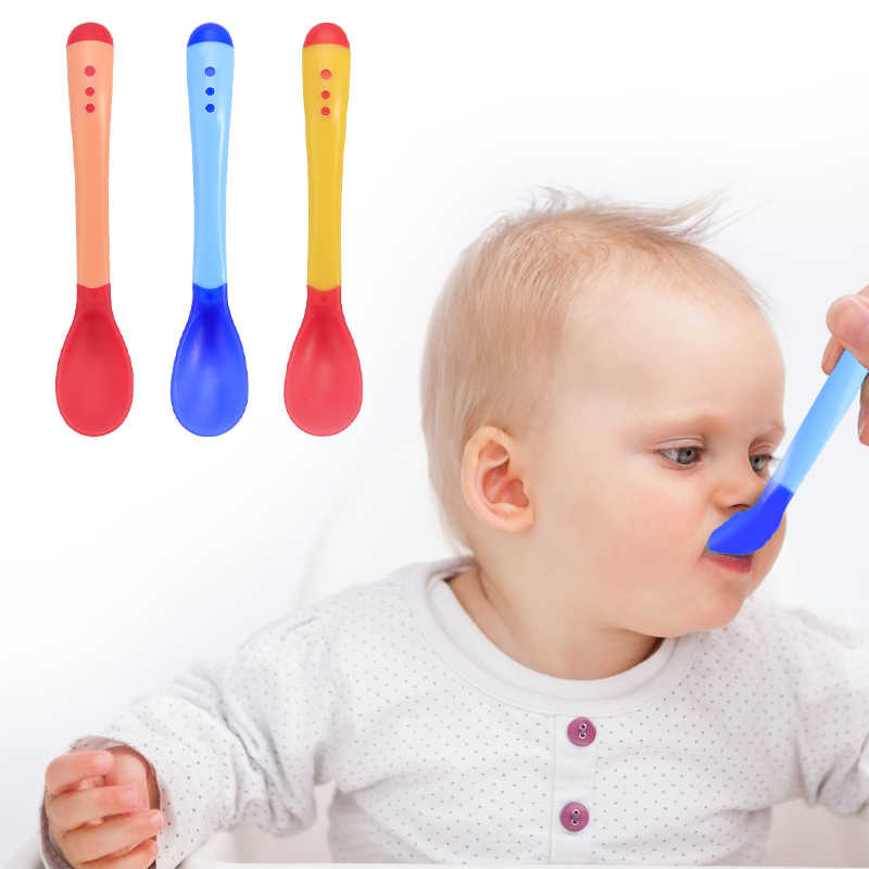Baby Silicon Spoon Baby Safety Temperature Sensing Kids Children Flatware Feeding Spoons
