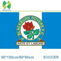 Free Shipping England Blackburn Rovers F C Decoration Flag A 3ft 5ft 100D Custom Flag