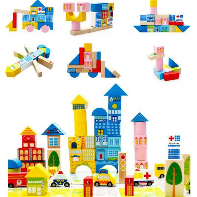 Wynlzq 62pcs/lot Wood Toy Blocks Safety Wooden Toys Kids Intellectual Game Adults Antistress Toy Family Games Novelty Gifts New Building & Construction Toys