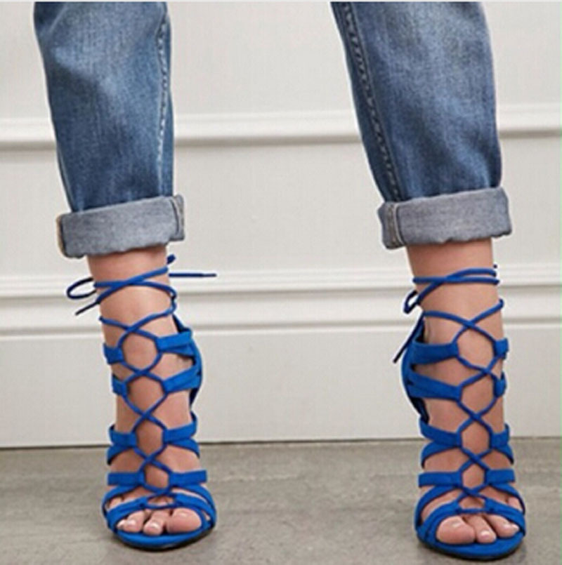 royal blue suede leather cut out strappy high heel sandals lace up ...