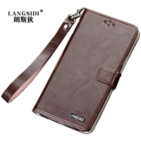Original LANGSIDI Fashion Genuine Leather Lanyard Business Style Phone Case For Samsung Galaxy A5 2017 A520F Mobile Phone Shell