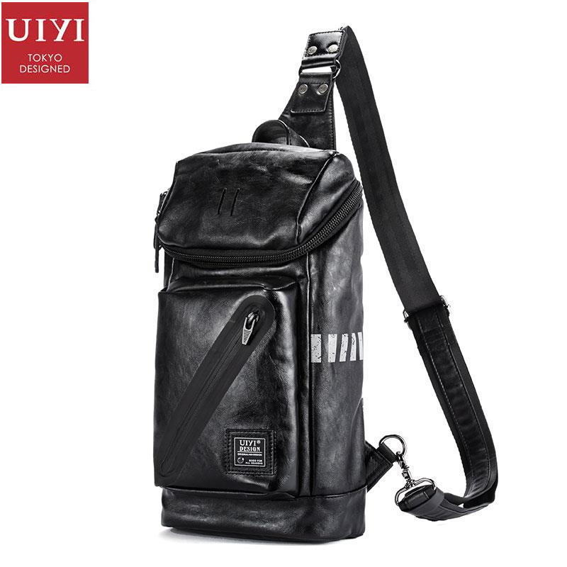 UIYI Messenger Bags Small PU Leather Handbag Men Casual Shoulder Crossbody Travel Sling Satchel Bags Chest Teenagers 160165 uiyi fashion pu leather handbag men casual messenger shoulder bag crossbody business sling satchel male tote bags 160077