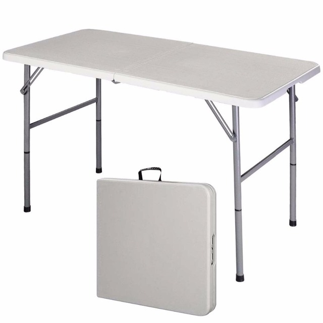 Giantex Folding Table Portable Picnic Party Dining Camp Tables White Modern  Desk Utility Office Computer Desk