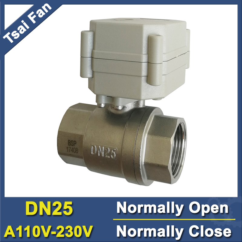 TF25-S2-C SS304 DN25 BSP/NPT 1'' Normally Open Normally Close Valve AC110V-230V Metal Gear Can Instead Of Solenoid Valve