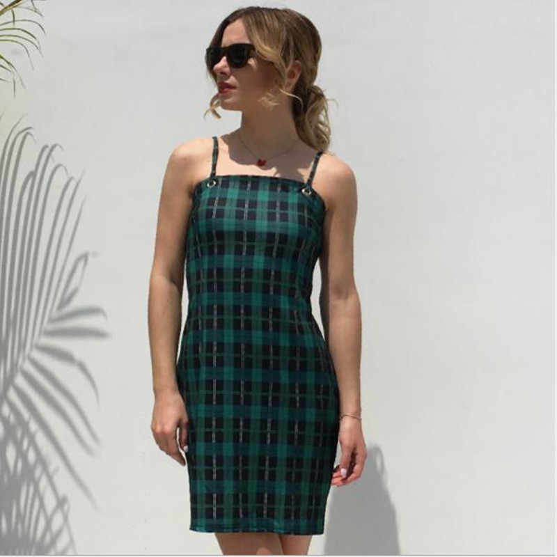 a0246f2324d woman summer sun dresses plus size clothing open back mini bodycon bandage  dress casual green checkered