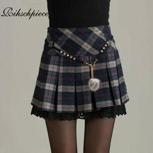 Женская винтажная плиссированная мини юбка Rihschpiece, зимняя готическая юбка пачка в стиле ретро, с высокой талией, RZF674