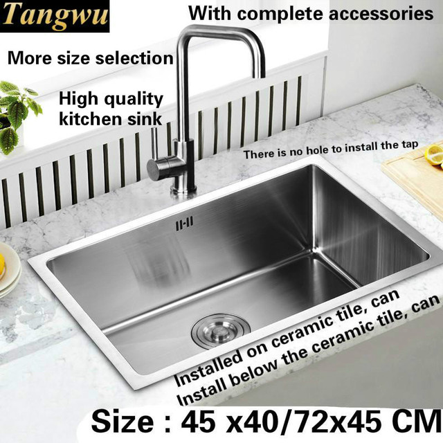 Free Shipping High   Grade Kitchen Sink Trough Manual Food Grade 304 Stainless  Steel 3 Mm Thick Durable Durable 45x40/72x45 CM
