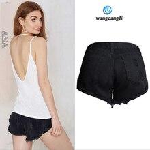 Узкие джинсы женщин BF декадентской ветер популярные свободные нет упругой керлинг изношенные шорты отверстия с низкой талией джинсовые шорты feminino джинсы