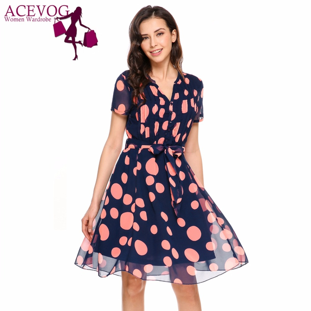 55d1e7a30c6e ACEVOG Women V-Neck Vintage Polka Dot Chiffon Fit and Flare Dress Short  Sleeve Belt Summer Autuumn Knee Length Retro Femme Robe