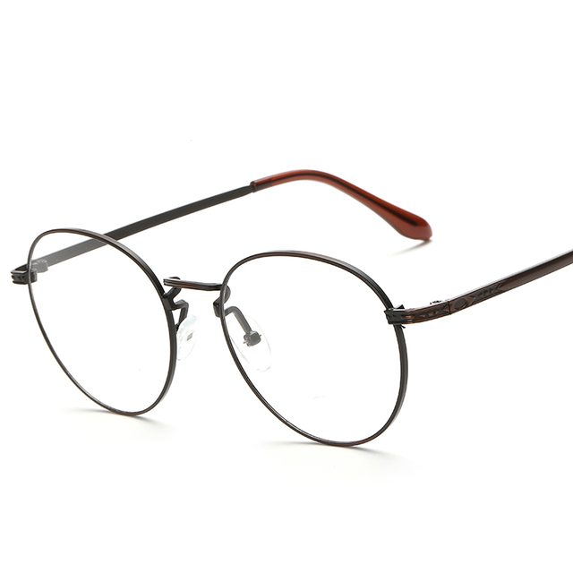 peekaboo new retro oval antique glasses frames male full frame metal gray clear lens frames for