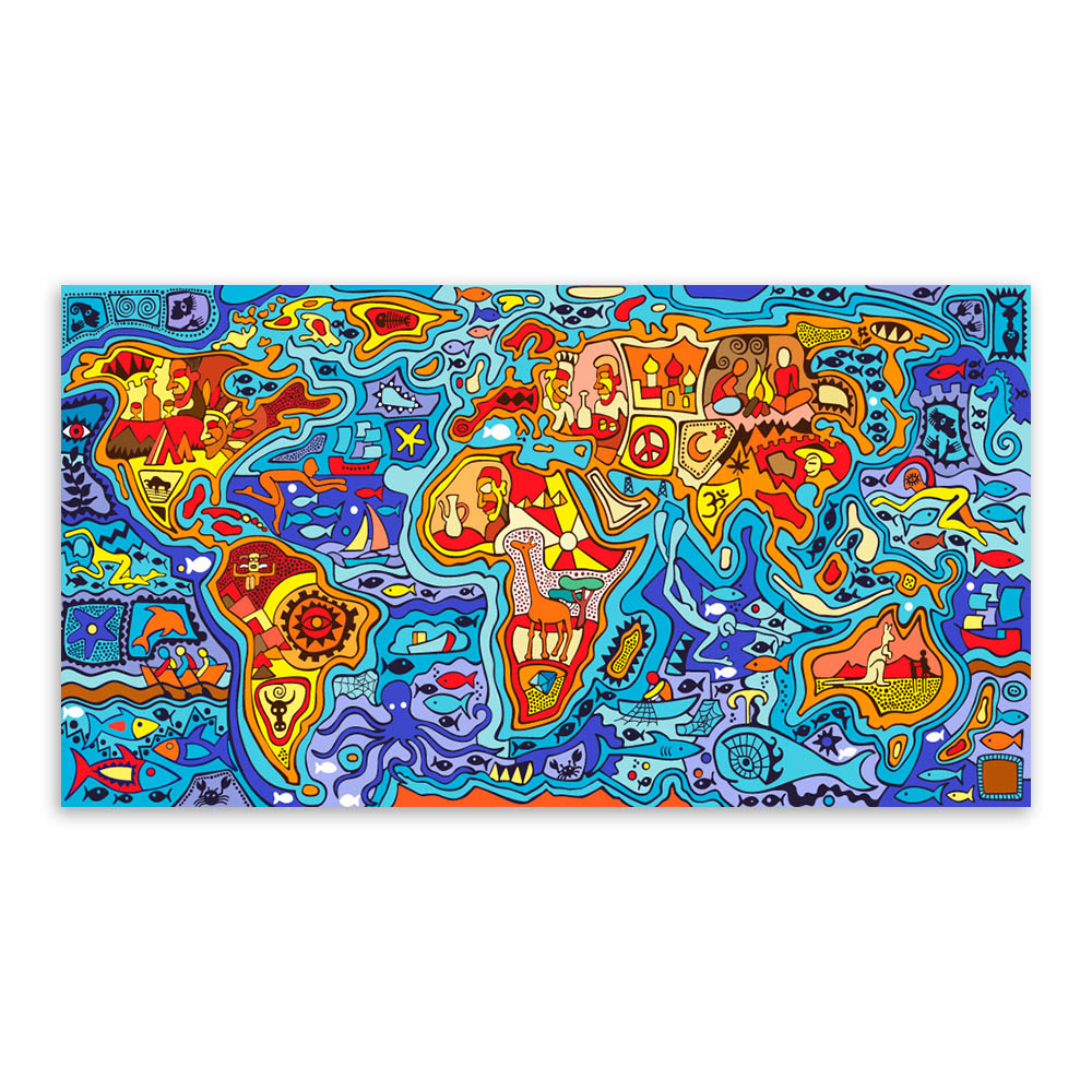 Showy Colorful Pop World Map Sea Land Art Prints Poster Abstract Wall Canvas Painting No Framed Kids Room Home Painting Colorful Pop World Map Sea Land Art Prints Poster Abstract art Modern Art Prints