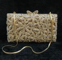Hot Embroidery Flower Beaded Women 2017 Bridal Evening Clutch Messenger Bag Wedding Bridal Clutches Bag Handmade