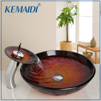 KEMAIDI Waterfall Deck Mount Single Handle Washbasin Lavatory Tempered Glass Basin Sink Combine Vessel Vanity Tap