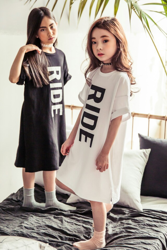 2016 Summer New Girl Summer Long Cotton Dress Kids T-shirt Dress Girls Letters Dresses  Children Casual Clothes new arrival spring fall girl t shirt cotton long sleeved casual children t shirt girl long sleeve t shirt 6 11y