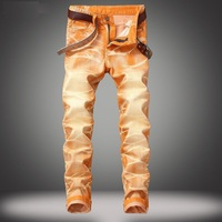 Men's Jeans Fashion Joggers Mens Jeans Regular Fit Casual Mens Pants Street Wear Classic Straight Orange Jeans Men 424