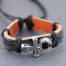 Горячая ручной работы древний египетский символ жизни Ankh кожаный браслет амулет в подарок MB84