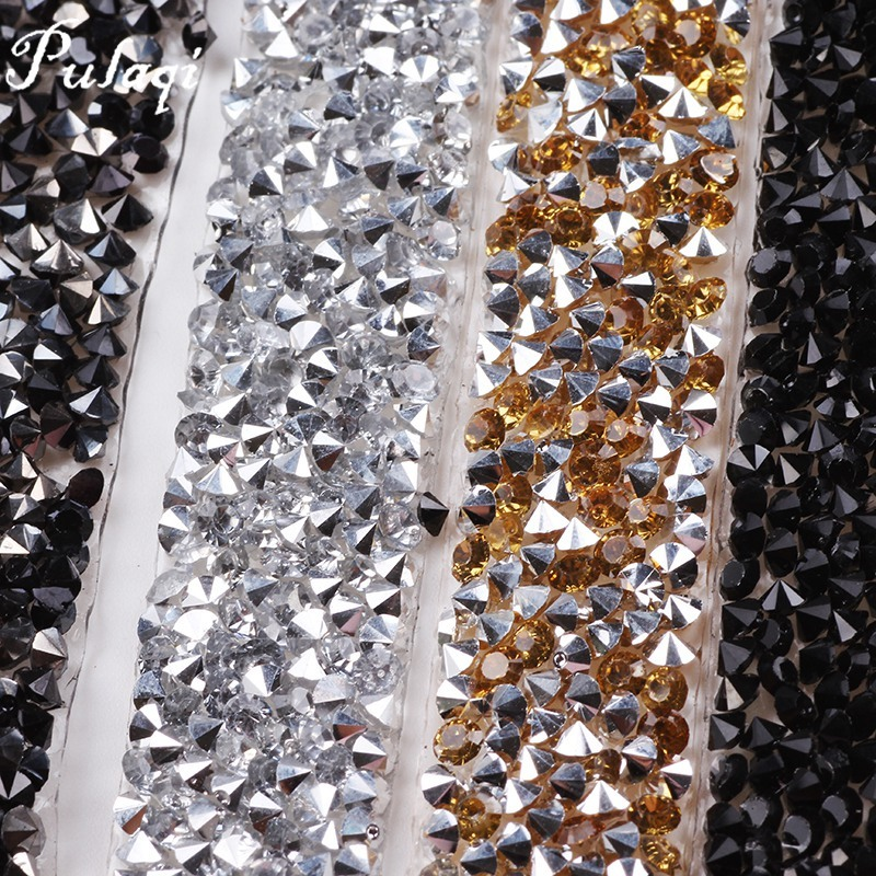 Pulaqi 1 Yard  15mm Clear Crystal Mesh Hot Fix Rhinestones Chain Trim Resin  Strass Banding Crystal Hotfix Applique for Clothes H-in Rhinestones from  Home ... 1bc5bf93622b